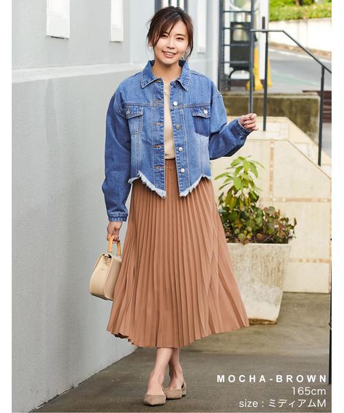 [Re:EDIT] [低身長向けサイズ対応]ミディアム丈ジョーゼットプリーツスカート