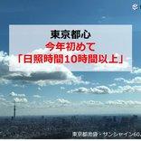 東京都心 今年初めて「日照時間10時間以上」