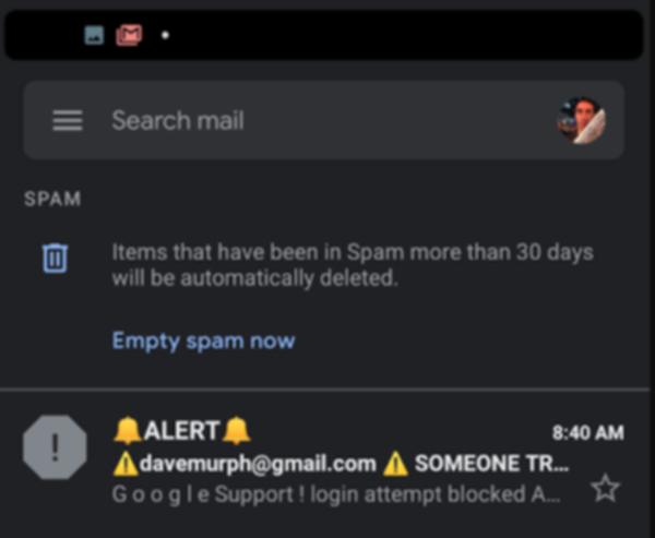 Gmailアプリの迷惑メールフォルダの画面