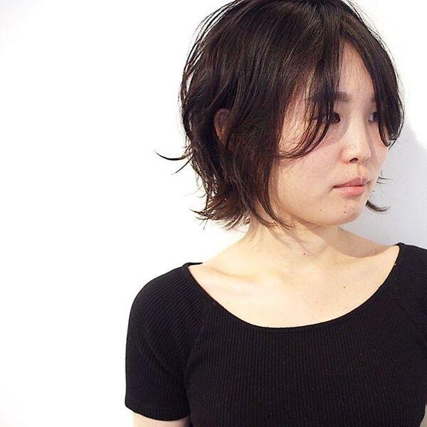 面長さんに似合う前髪なし×ショート×黒髪4