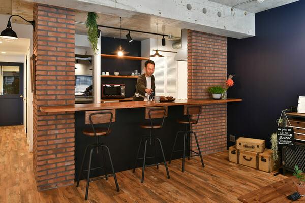 タモ材のキッチンカウンター