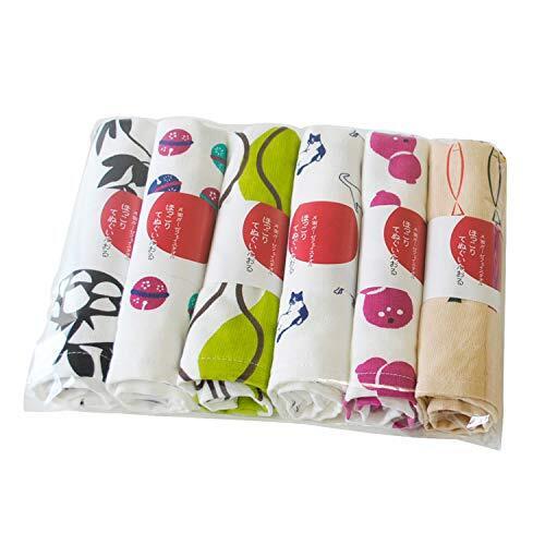 ブルーム 和風柄ガーゼてぬぐい フェイスタオル 泉州タオル キッチンタオル 薄手 速乾 軽量 日本製 デザインおまかせ 6枚セット