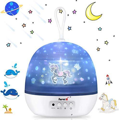星空ライト AsperX スタープロジェクターライト 寝かしつけ用おもちゃ 常夜灯 360度回転投影ランプ 4種類投影映画フィルム インテリアランプ USB/電池兼用 子供、彼女にプレゼント 誕生日ギフト お祝い デートのロマンチック雰囲気を作る(日本語取扱説明書付き)