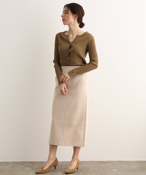 [ADAM ET ROPE'] 【セットアップ対応】リブダブルフェイスロングスカート