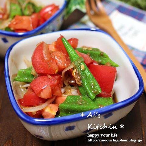 トマトとオクラの簡単ポン酢和え