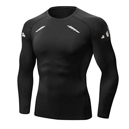 QcoQce スポーツシャツ 長袖 加圧シャツ メンズ 加圧インナー ラウンドネック 筋肉 脂肪燃焼 補正下着 スポーツウェア