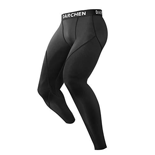 Darchen トレーニングインナー 保温防寒運動着 筋肉サポーター 吸汗速乾 メンズ ブラック フラット L