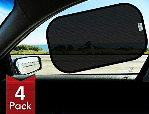 Kinder Fluff 車窓用静電気タイプサンシェード お得な 51 x 30.5cm × 4枚入りセット 収納ポーチ付