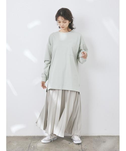 [CRAFT STANDARD BOUTIQUE] 【2020SS】LOOSE T-SHIRT/クルーネックポケット付きロングTシャツ【UNISEX】◯☆*
