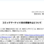 「コミックマーケット98」の開催中止 5月2日~5日の開催を計画