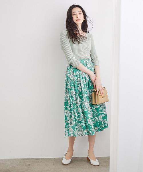 [ROPE'] フラワープリントサテンギャザースカート