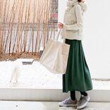 【ユニクロ】のオンラインで買うなら、グリーン系スカートが正解【40代の毎日コーデ】