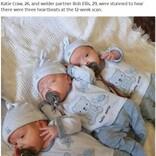 2億分の1の確率! 一卵性の三つ子を自然妊娠で授かった26歳(英)