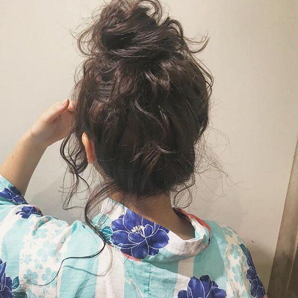 花火大会×ロング×高めお団子