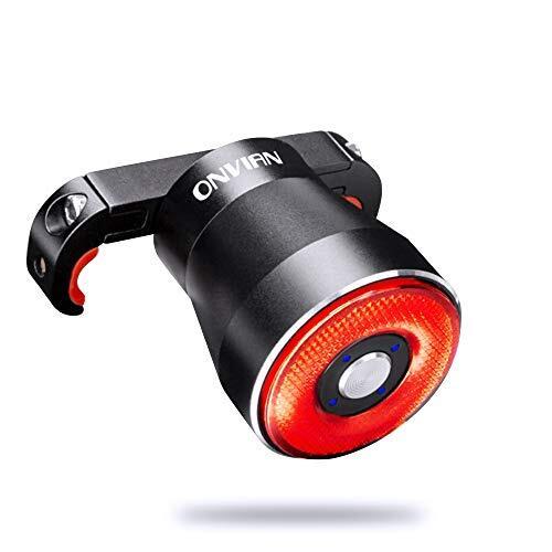 Onvian 自転車 テールライト セーフティーライト スマートブレーキ リアライト 4モードLED 自動点滅 IP65防水 USB充電 22高輝度COB 夜間走行 簡単インストール