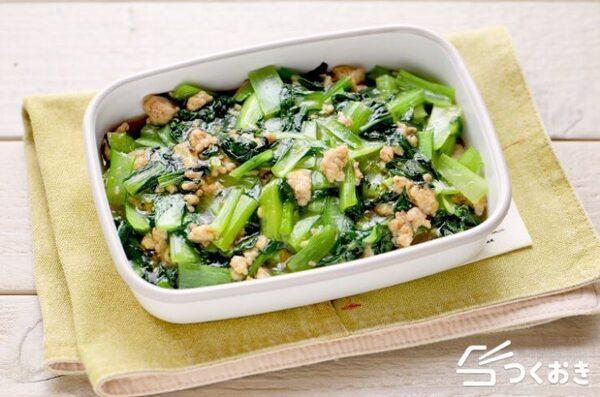 大量消費で和風テイストに!簡単な小松菜そぼろ