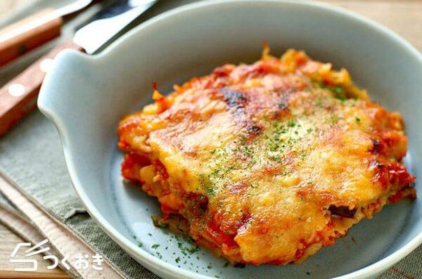 大量消費できるレシピ!なすとトマトのラザニア風