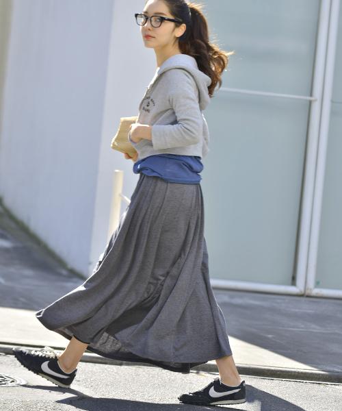 [coca] 落ち感フレアロングスカート