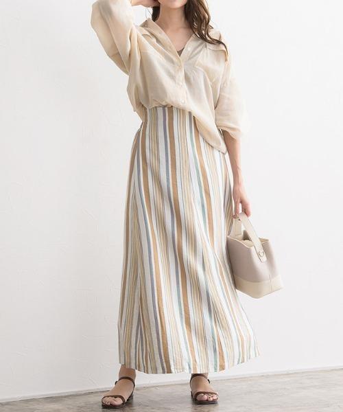 [Pierrot] マルチストライプマキシスカート