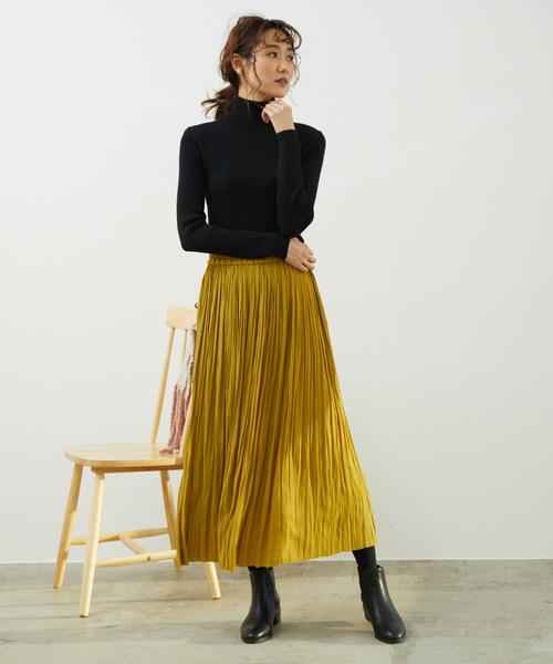 [ROPE' PICNIC] シャイニープリーツロングスカート