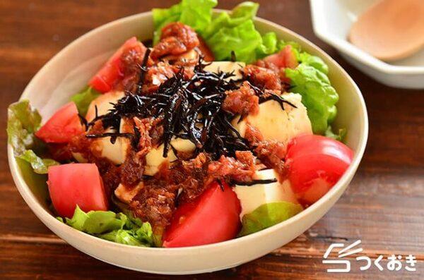 大量消費メニュー!ひじきと豆腐の梅おかかサラダ