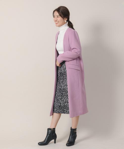 ノーカラーコート×レオパードタイトスカート