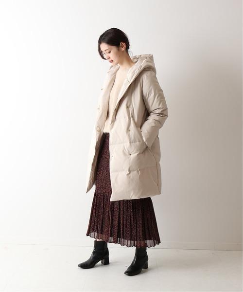 ダウンコート×サイドボタンプリーツスカート