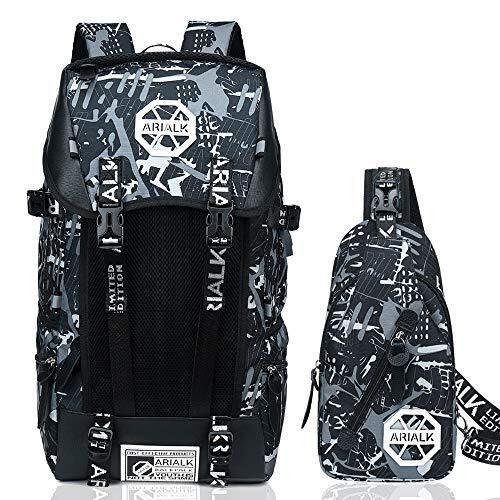 [ARIALK] リュック メンズ リュックサック ボディバッグ セット USB ポート搭載 レインカバー付き 盗難防止 通学 通勤 学生 (当店限定Color-グレー)