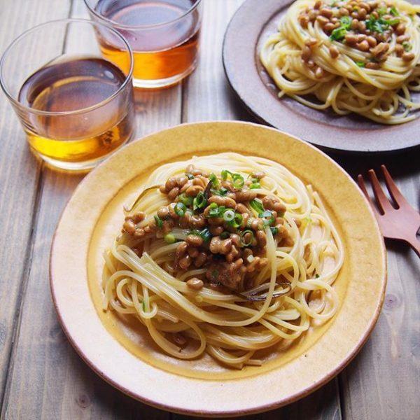 納豆と塩昆布の簡単パスタ