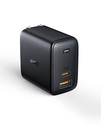 AUKEY Omnia USB充電器 オム二アミックス アダプタ GaN充電器 USB-C急速充電器 65W GaN (窒化ガリウム) 採用 ノートPC充電可能 折畳式 PD3.0搭載 iPhone 11 / 11 Pro / 11 Pro Max/XR / 8 、 Galaxy S10 / S10+、MacBook Pro、その他USB-C機器対応 PA-B3 ブラック