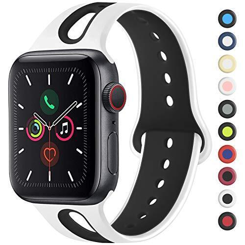Meliya コンパチブル Apple Watch バンド アップルウォッチ バンド 新デザイン スポーツバンド 交換バンド 柔らかい シリコン素材 apple watch series 5/4/3/2/1に対応 (42mm/44mm S/M, 白/黒)