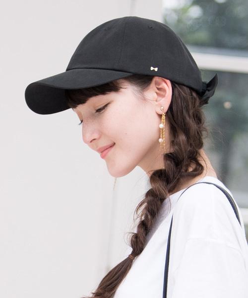 [帽子屋ONSPOTZ] GIRBLISH(ガーブリッシュ)レディース 後ろリボン コットン/サテン キャップ B-MUSUBI CAP