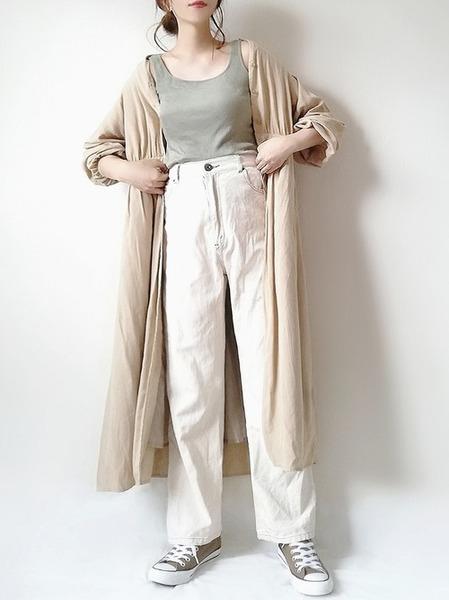 coenシャツワンピース×パンツの春コーデ