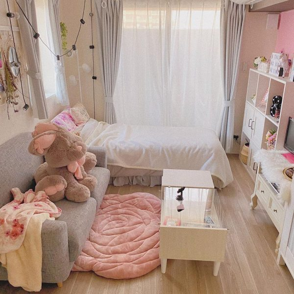 大人女子におすすめのピンク×グレールーム