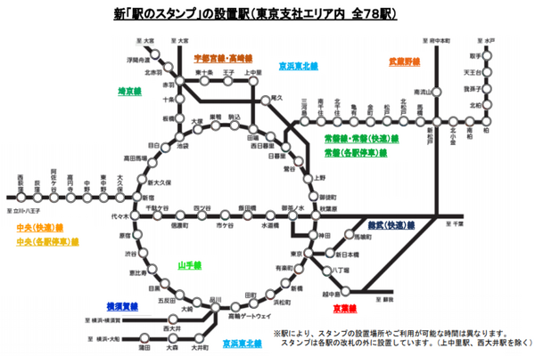 JR東日本 駅のスタンプ設置駅