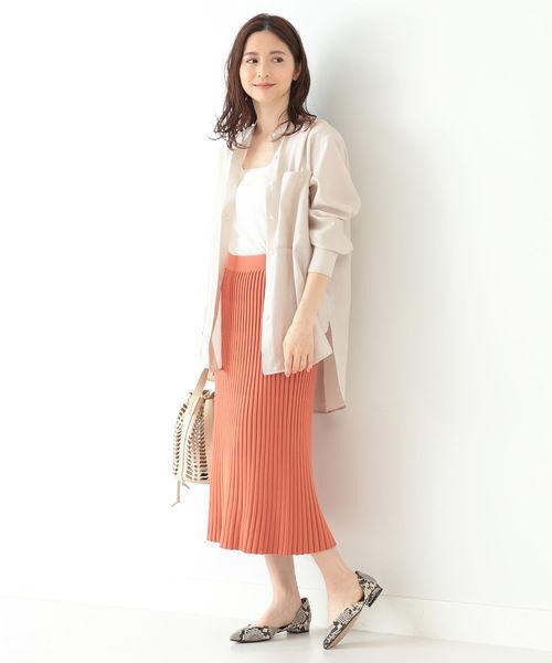 [BEAMS WOMEN] Demi-Luxe BEAMS / プリーツ風 ニットスカート