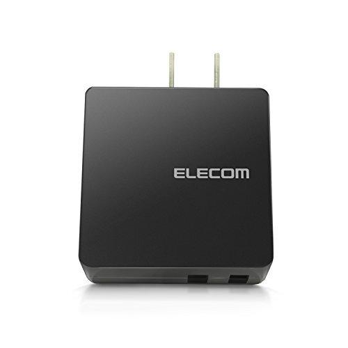 エレコム USB 充電器 ACアダプター コンセント [ スマホ & IQOS & glo 対応 ] USB×2ポート 急速充電器 折畳式プラグ ブラック MPA-ACUCN005ABK