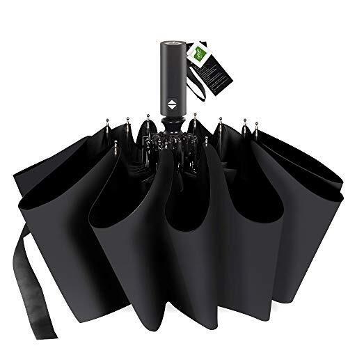 折りたたみ傘 自動開閉 頑丈な12本骨 折り畳み傘 日傘 メンズ 大きい 晴雨兼用 Teflon加工 超撥水 100%遮光 210T高強度グラスファイバー 台風対応 梅雨対策 傘 カバー付き (ブラック)