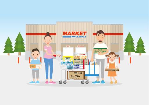 スーパーマーケットに家族で買い物