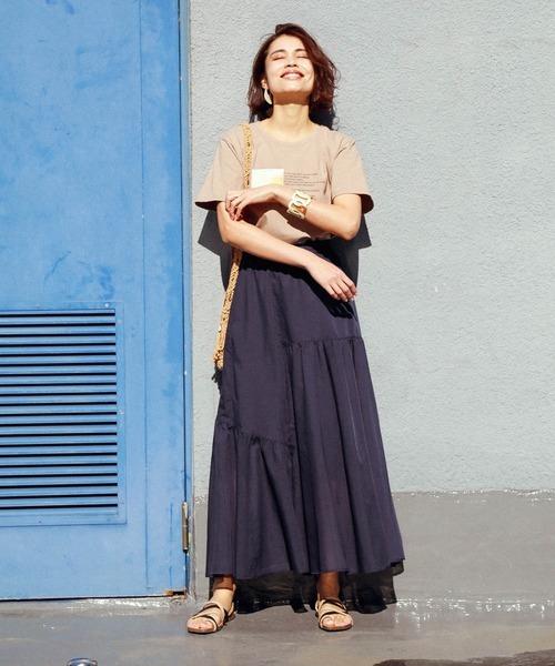[BAYFLOW] リネンカラーマキシスカート