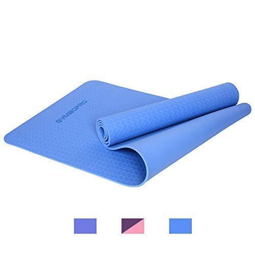ヨガ マットGYMBOPRO プレミアム 6mm 厚い 高密度 エコ フレンドリー アンチ スリップ TPE エクササイズ マット ヨガ ピラティス フィットネス と フロア エクササイズ 用( ブルー)
