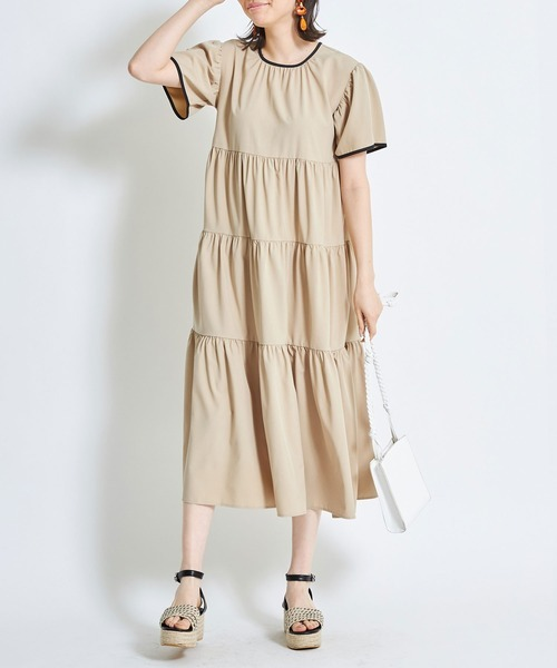 [tocco closet] 配色ティアードワンピース