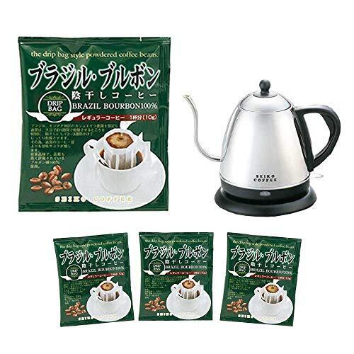 カフェ工房 【Amazon限定】 ドリップバッグ珈琲 ブラジル・ブルボン 10g コーヒー × 100袋 電気ケトル お得セット
