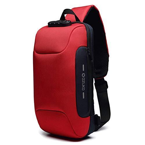 [OZUKO] ボディバッグ メンズ 斜めがけ ショルダーバッグ 大容量 防水 USBポート付き ワンショルダー 軽量 盗難防止 iPad収納可能 (レッド)