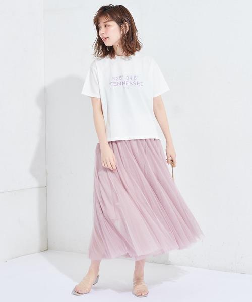 [natural couture] チュールレイヤードフレアスカート