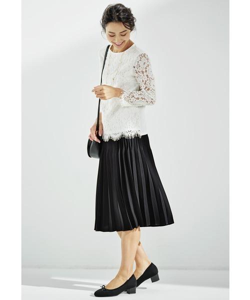 [FELISSIMO] IEDIT 立体シルエットの二段切り替えプリーツスカート〈ブラック〉