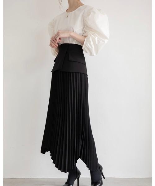 [A AMEL] ヨークデザインプリーツスカート black