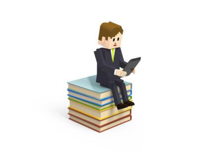 本に腰かけてパソコンをするイラスト