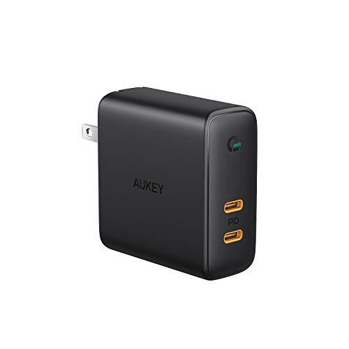 AUKEY ACアダプタ 充電器 USB-C 2ポート 急速充電器 アダプタ 63W GaN (窒化ガリウム) 採用 折畳式/PD3.0対応 iPhone XS/XS Max/XR/X、GalaxyS9、MacBook Pro、iPad Pro、Nintendo Switch/iPhone 11/11 Pro/11 Pro Maxその他USB-C機器対応PA-D5【PSE認証済み】ブラック