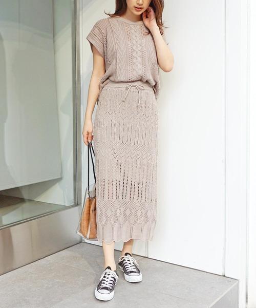 [Roomy's] クロシェタイトスカート